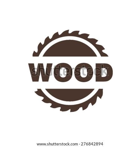 Sawing wood logo - stock vector
