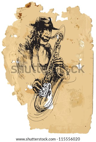 Sax player. A vector image is composed of two editable layers - background with torn paper and sketch of musician. - stock vector