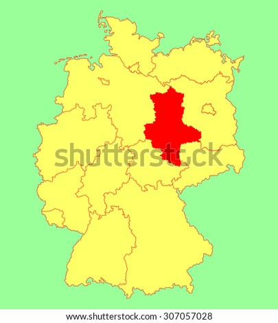 Saxony-Anhalt, Sachen Anhalt state map, Germany, vector map silhouette illustration isolated on Germany map. Editable blank vector map of Germany. Province in Germany.  - stock vector