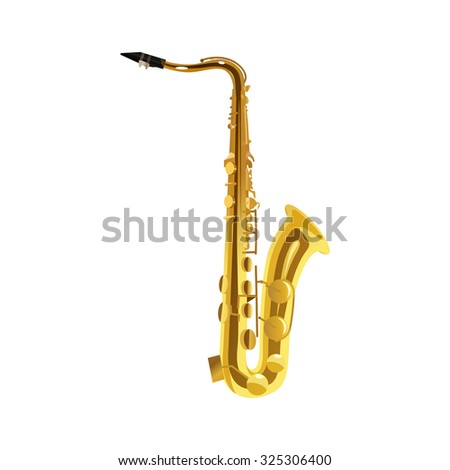 Saxophone - Brass Musical Instrument, Vector Illustration isolated on white