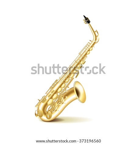 Saxophone isolated on white photo-realistic vector illustration - stock vector
