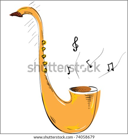 saxophone music tool color sketch - stock vector