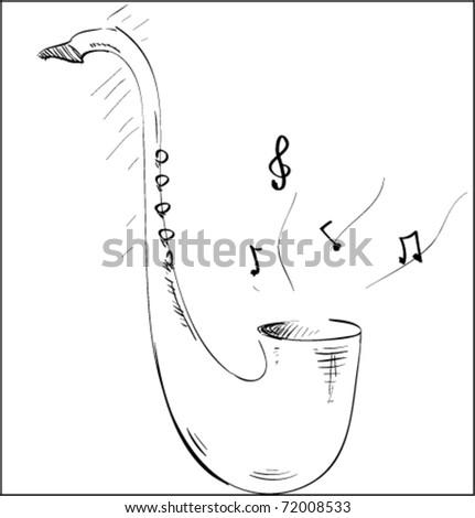 saxophone music tool sketch illustration - stock vector