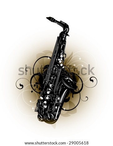 saxophone on a floral background - stock vector