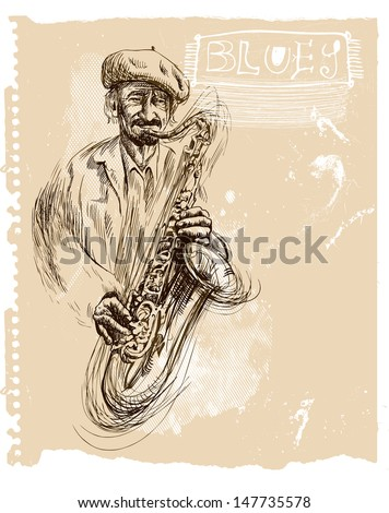 Saxophone player - An hand drawn illustration (sketch) converted into vector picture.