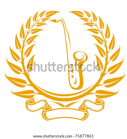 Saxophone symbol in laurel wreath isolated on white. Jpeg version also available in gallery - stock vector
