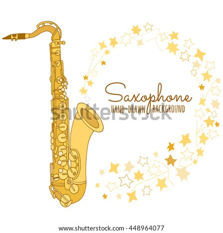 Saxophone vector illustration. Jazz music festival. Concert poster template