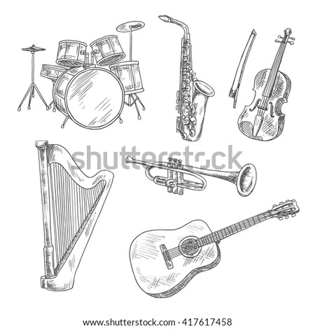 Saxophone, violin, drum set, acoustic guitar, trumpet and harp isolated sketches. Vintage engraving musical instruments for arts, music and entertainment design - stock vector