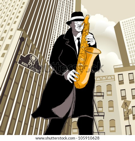 saxophonist in New York - stock vector