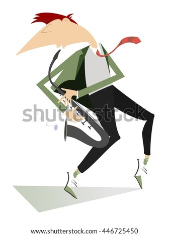 Saxophonist is playing music with inspiration - stock vector
