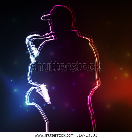 Saxophonist plays vector neon background concept