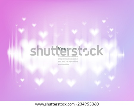 Scalable abstract eps10 vector background composition of packed clouds of shining of heart on pink sky of love - stock vector