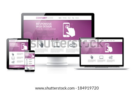 Scalable and flexible html, css, marketing responsive web design - stock vector