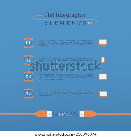 Scalable EPS10 flat design elements with usb cable, bracket text box and cloud computing icon set for infographics, brochure layout, presentation - blue, orange version - stock vector