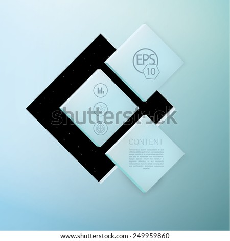Scalable Eps10 Vector Composition of  Three Abstract Square Shape Text Box Elements - stock vector