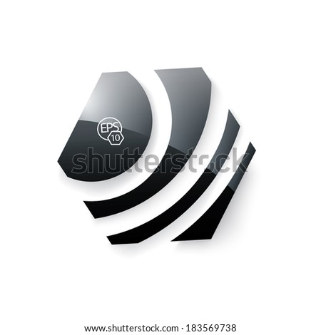 Scalable eps10 vector design. Black shiny badge for corporate sign holder. text box with a sample icon.  - stock vector