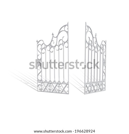 Scalable eps10 white vector 3d iron gate illustration, realistic isolated mockup graphics  element for event invitation or other media for spiritual concept - stock vector
