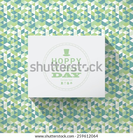 Scalable minimal 3D vector text box on triangle pattern background for holiday greeting, cover design, web page banner, wallpaper - St. Patrick's Day version - stock vector