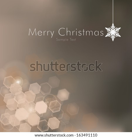 Scalable minimal shiny hexagon bokeh background with snowflake decoration for christmas cards, web site backgrounds, layouts - gold edition - stock vector