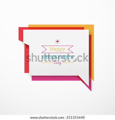 Scalable minimal vector speech bubble on colorful background for cover design, web page banner, text box - valentine's day version - stock vector