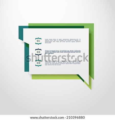 Scalable minimal vector speech bubble on colorful background with numbered option menu for cover design, web page banner, layout, text box - green version - stock vector