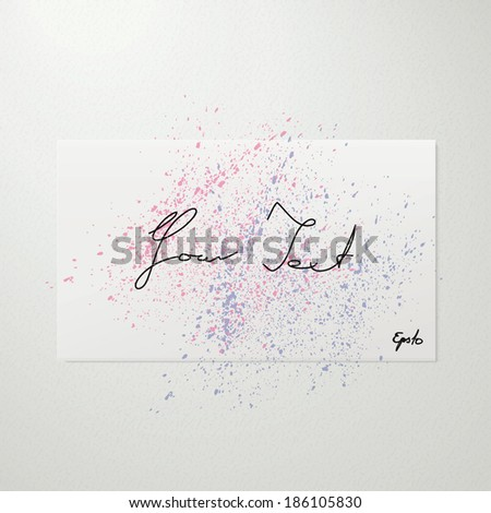 Scalable minimal white paper illustration with water color splash for text box, web site background, brochure design - pink, purple version - stock vector