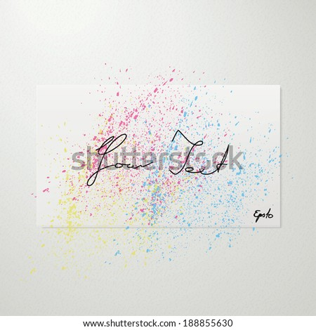 Scalable minimal white paper illustration with water color splash for text box, web site background, brochure design - CMYK version - stock vector