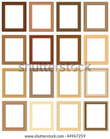 Scalable vector wooden picture frames. Width and height can be changed to suit your pictures - stock vector