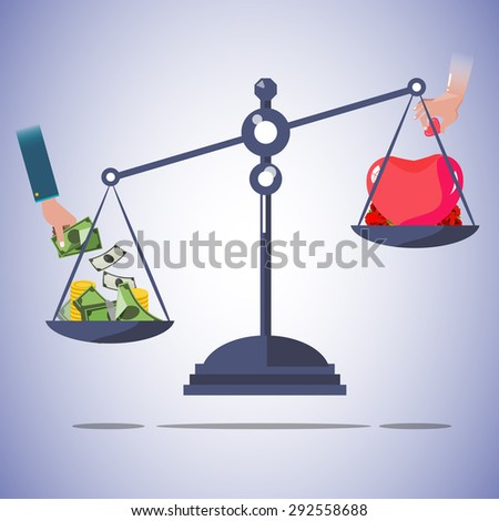 scale balance of money and love.  - vector illustration - stock vector