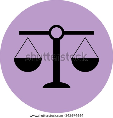 Scale icon balance. Justice and equality, law andcourt, measurement weigh, crime and legal. Vector - stock vector