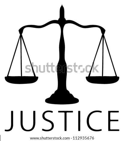 Scale Icon Justice Symbol Black White Stock Vector 112935676