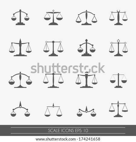 Scale icons set, vector. - stock vector