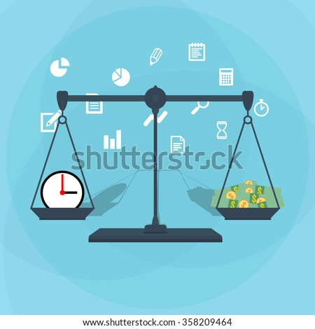 Scale weighing money and time - stock vector