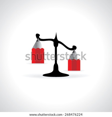 scale with pencil illustration  - stock vector