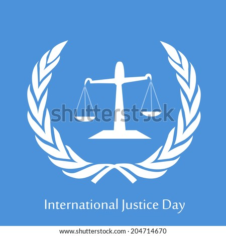 Scales balance for International Justice Day - stock vector