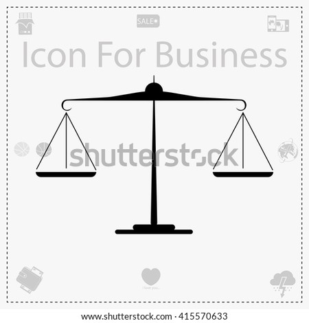 Scales icon. Simple black vector symbol. Logo for web. Image for business.