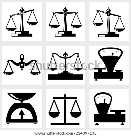 Scales icon vector black on white background - stock vector