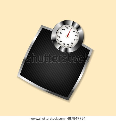 Scales in the bathroom of metal. Vector illustration.