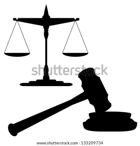 Scales of justice and gavel - stock vector