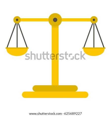 Scales of justice icon flat isolated on white background vector illustration