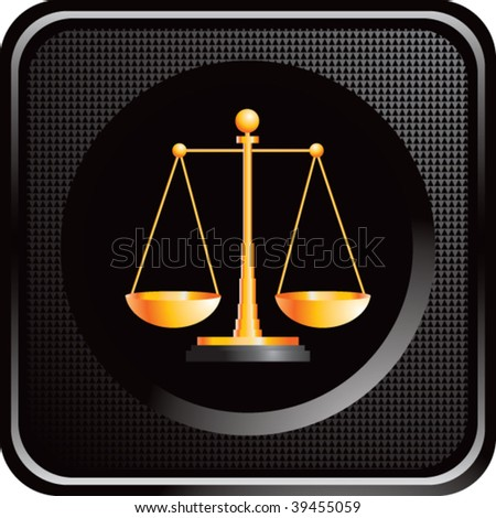 scales of justice on black web button - stock vector