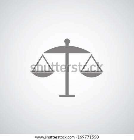scales of justice on gray background   - stock vector