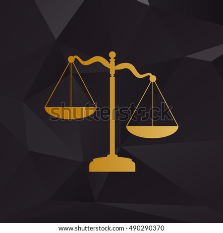 Scales of Justice sign. Golden style on background with polygons.