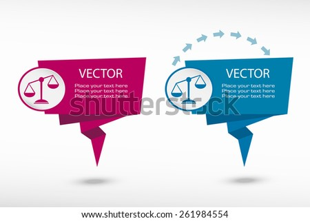 Scales of Justice sign on origami paper speech bubble or web banner, prints. Vector illustration - stock vector