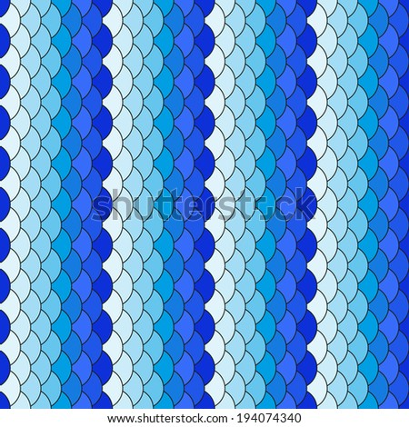 Scales white and blue repeating pattern. Seamless texture - stock vector