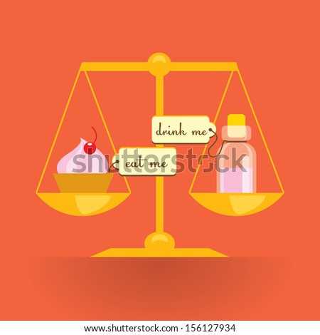 Scales with cake and bottle - illustration about growing based on Alice in Wonderland story - stock vector