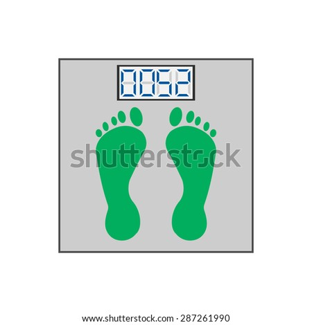 scales with footprints and digital display - stock vector