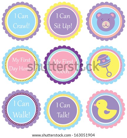 Scalloped Circles - Baby Saying Set - stock vector