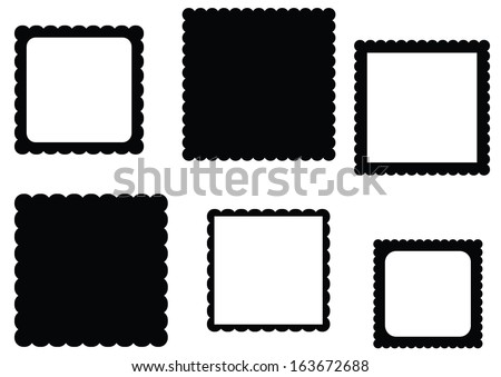 Scalloped Edge Square Frame Set - stock vector