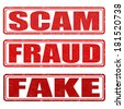 Scam, fraud and fake grunge rubber stamps on white, vector illustration - stock photo